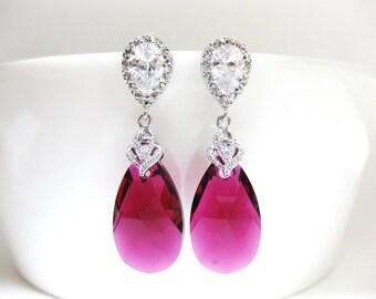 Bridal Ruby Earrings Swarovski Fuchsia Teardrop Earrings Hot Pink Earrings Cubic Zirconia Earrings Wedding Jewelry Bridesmaids Gift (E038)