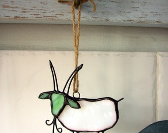 stained glass goat made for hanging