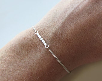 """Fine Minimalist Silver Bracelet """"NYEMA"""" Trendy Chic delicate Jewelry - Handmade Jewelry"""