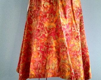 Batik Trapeze Cotton Womens Dress Hi Low Hem, Tent Circle Full
