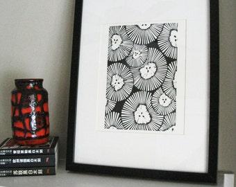 CHRYSANTHEMUMS Lino Print - Black& White Abstract Flower Print - 8x10 Block Print - Ready to Ship