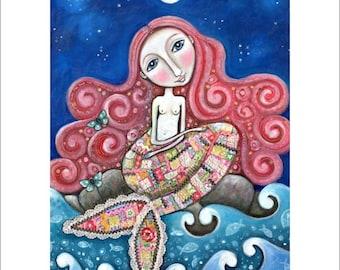 Red Hair Mermaid A3 art print whimsical folk romantic wall decor women girl mermaid decor mixed media painting Mermaid wall Art