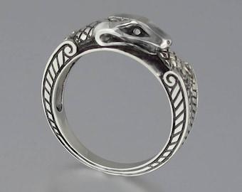 OUROBOROS 14K white gold mens unisex Snake ring