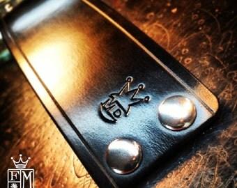 Leather cuff bracelet Black Bridle Custom wristband Scribed slickest edges Handmade for you in NYC by Freddie Matara
