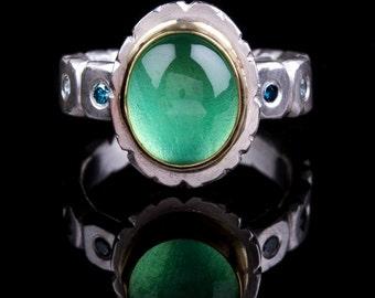 Green Sapphire Ring, Eco Friendly Lab grown , hand carved, 18K gold, Blue Diamonds, Blue Zircon