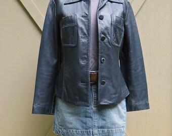 Distressed vintage Banana Republic Midnight Navy Leather Jacket