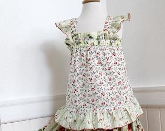 Toddler,Girl,Tween Cotton Blouse Girls Flutter Sleeve Top Floral Rose Red Moss Green Custom Boho Girl Clothes Size 2T 3T 4T 5 6 7 8 10 12 14