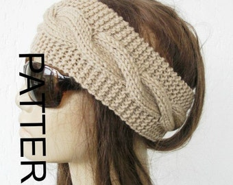 Knitting PATTERN  PDF  Digital Headband Pattern  Instant Download Handmade  ear warmers Cable Knit Headband  women by ebruk-headband pattern
