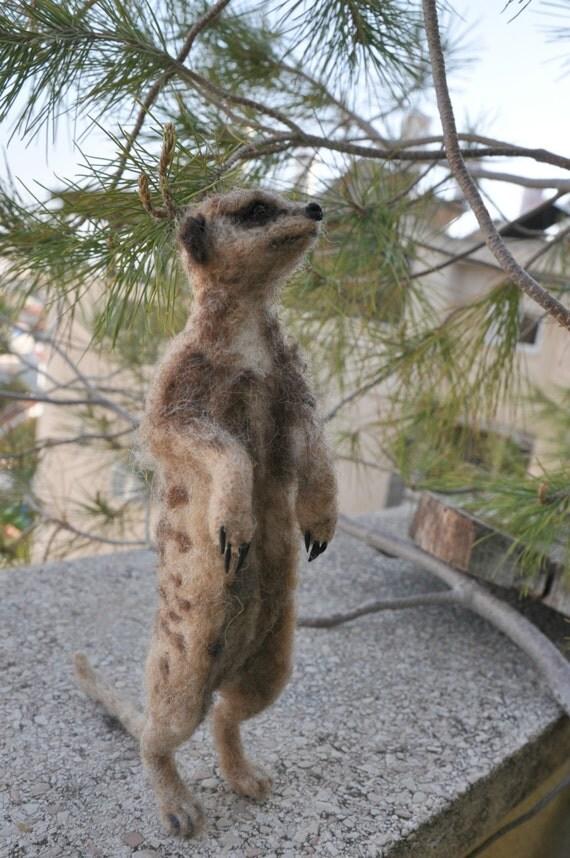 Needle Felted  Animal. Slender. Tailed  Meerkat. Suricate. Made for custom orders