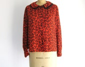 SALE Vintage Novelty Print Blouse Bows 1980s Red Black Peter Pan Collar Poet Sleeve Shirt M/L