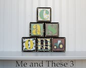 Wood letter name blocks custom to your style-Square John Deere tractor espresso black green yellow
