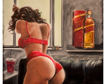JEREMY WORST On Sight Johnnie Walker Red Label Gilcee Canvas print Artwork sexy pin up