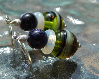 Starry Night Earrings - Swirled Lampwork Glass Beads, Sparkly Blue Goldstone, Opalite Rings & Sterling Silver w Argentium Ear Wires