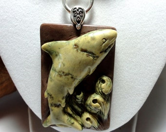Shark Week! Shark Necklace Carved Jasper Tiger Shark Pendant and Necklace w 2 Strands of Tan Jasper and Black Onyx Beads Necklace w Sterling