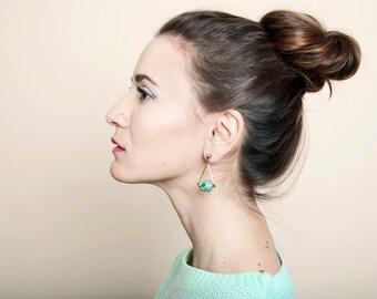 Geometric Statement Earrings, Triangle Earrings, Mosaic Dangle Earrings in Moss Green