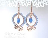 Blue Agate Earrings, Copper Wire Wrapped, Blue Jade Teardrops, Copper Wire Earrings, Sky Blue, Powder Blue, Copper Scroll Earrings, 744