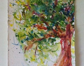 Watercolour Autumn Tree - Fresh unique ORIGINAL watercolor -Post card size 4x7 was 25 now 20