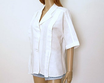 Vintage 1980s Blouse White Oscar de la Renta Pleated Button Front Blouse / Large