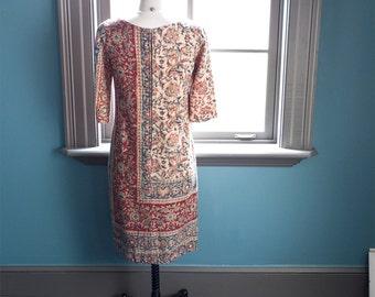 Vintage bohemian TAPESTRY floral SHIFT DRESS