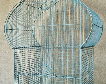 Large Metal Wire Birdcage for Display Home Decor Yard Art Hand Painted Dragonfly Blue by OlliesFineThings
