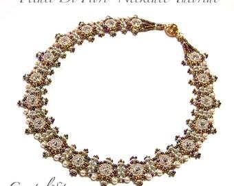 Beading Tutorial Pattern - PDF - Petali Di Fiori - necklace - 8mm swarovski rivoli and pearls