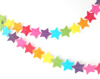 Rainbow Star Bunting - made with wool blend felt in bright rainbow colours, perfect for kids room or birthday