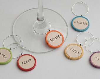 Colorful Ceramic Personalized Wine Glass Charms - dinner party, girl's night, hostess, colorful wedding