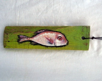 fish painting Red Green, food art decor, kitchen art, wall art