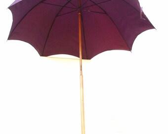 Antique Umbrella Walking Stick Silk Parasol Sterling Handle Wood Walking Cane - As Is