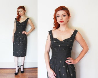 ALFRED SHAHEEN Vintage Dress - 1950s Black Gold Hawaiian Wiggle - Extra Small / XS