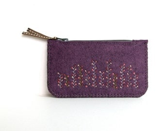 Felt Coin Purse Wallet ø Small Make Up Bag ø Winter Garden ø LoftFullOfGoodies