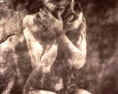 Ethereal Black and White, Self Portrait, Vintage Fine Art Photography, Tribal Ritual Dark Sepia, 5x7