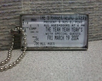 The Yeah Yeah Yeah's concert ticket stub necklace or keychain