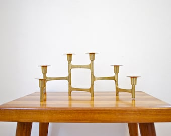 Mid Century Architectural Brass Candle Holder // Modern Home Decor // Articulating Candelabra