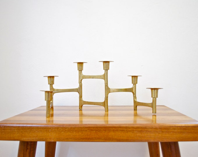 Mid Century Architectural Brass Candle Holder // Modern Home Decor // Articulating Candelabra