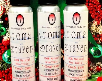 CANDYCANE Holiday Room Spray- Pure Aromatherapy Spray w/ Cooling Peppermint & Wintergreen Essential Oils. Uplifts The Mood. Vegan- Christmas