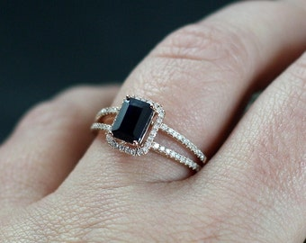 Blue Sapphire Engagement Ring Halo Diamond Emerald Cut Split shank Ilithyia 1.25ct 7x5mm Custom White-Yellow-Rose Gold-10k-14k-18k-Plat