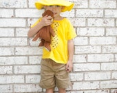 Curious George Party Shirt Man in the Yellow Hat inspired costume shirt, with yellow polka dot tie