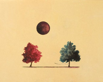 Art Print. Red Tree Blue Tree Moon. Saving Us