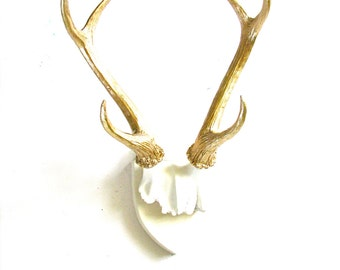 WHITE GOLD Faux Antlers Plaque Wall Hanging Rustic Modern Wall Mount Wall Decor wall antlers nursery office mounted antlers stag deer