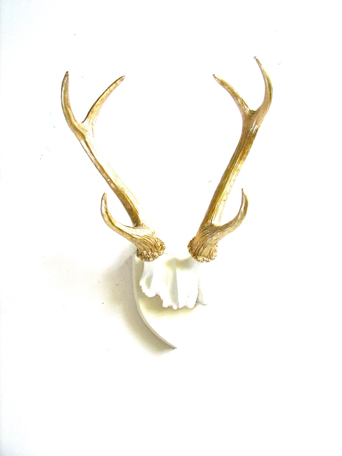WHITE GOLD Faux Antlers Plaque Wall Hanging Rustic Modern Wall