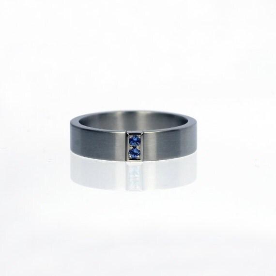 Calanthe Ring with Blue sapphire wedding band Palladium