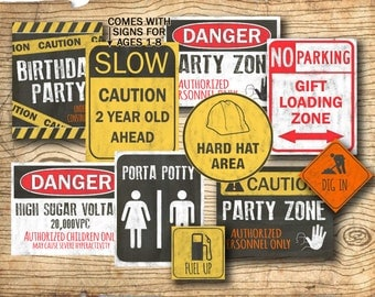 Construction birthday - Construction party signs - construction birthday party decorations - DIY Instant download construction decor