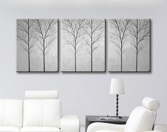 Wall Art Painting Canvas Art 3 Piece Wall Decor Large Paintings of Trees Minimalist Home Decor Abstract Wall Hanging Gray Art 48x20
