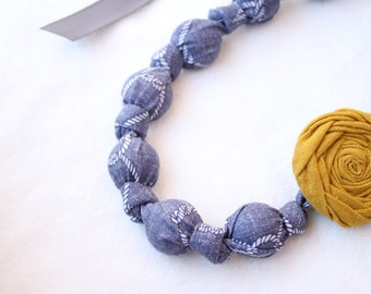 Fabric Necklace,Teething Necklace, Chomping Necklace, Nursing Necklace -Denim Knots
