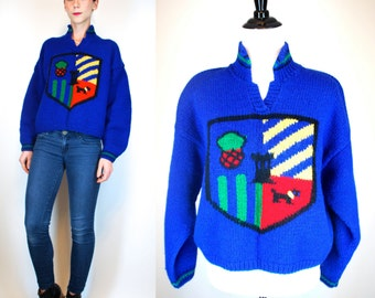 Vintage 60s COWICHAN Wool Thick Knit Sweater. Chunky Royal Blue Scottish Crest Scotty Dog. Boho Hipster Cardigan Jacket. Extra Small