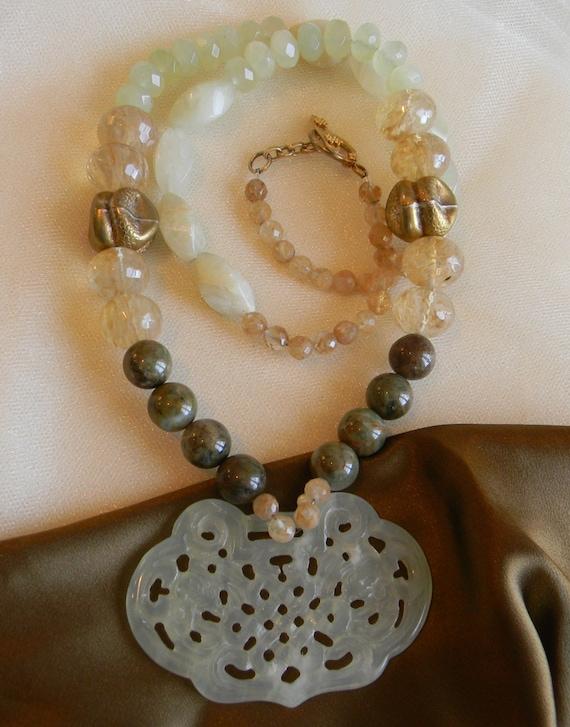 jade infinity knot large pendant w opal by thejademerchant