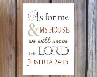 Joshua 24:15 As For Me And My House We Will Serve The Lord. Print and Pop into Frame DIY Instant Download. Home Decoration.