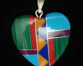 Inlaid Stone Heart Pendant American Southwestern