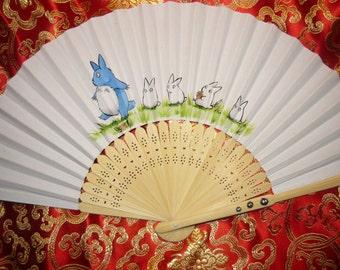 "Totoro Walk - handpainted Paperfan - ""Made to Order"""